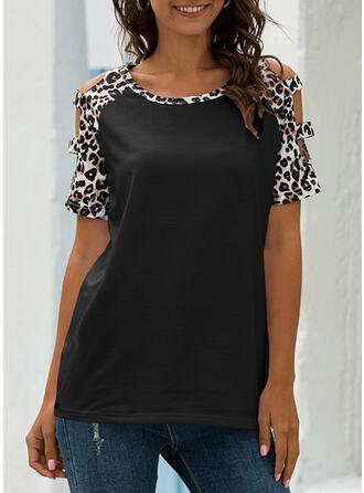 Patchwork Leopard Cold Shoulder Short Sleeves Casual T-shirts