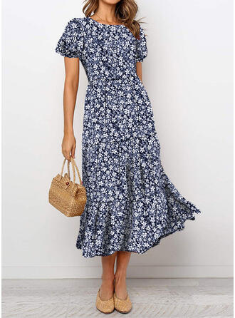 Print/Floral Short Sleeves/Puff Sleeves A-line Casual/Elegant Midi Dresses