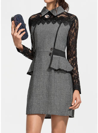 Lace Long Sleeves Bodycon Above Knee Elegant Dresses