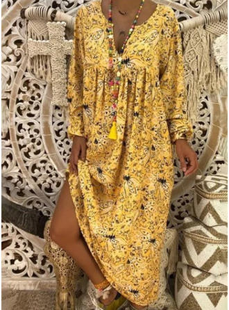 Print Long Sleeves Shift Maxi Casual Dresses