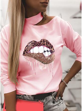 Print Leopard One Shoulder Lange ærmer Sweatshirts