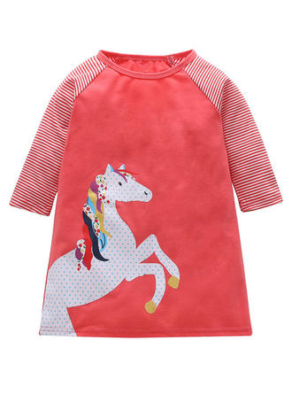 Girls Round Neck Striped Animal Casual Dress