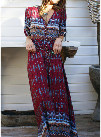 Print 1/2 Sleeves A-line Maxi Casual/Boho/Vacation Dresses
