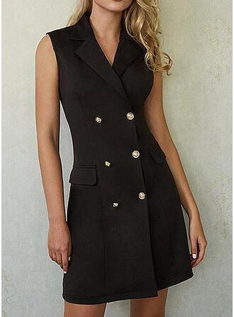 Couleur Unie Sans Manches Fourreau Au-dessus Du Genou Petites Robes Noires/Décontractée/Élégante Robes