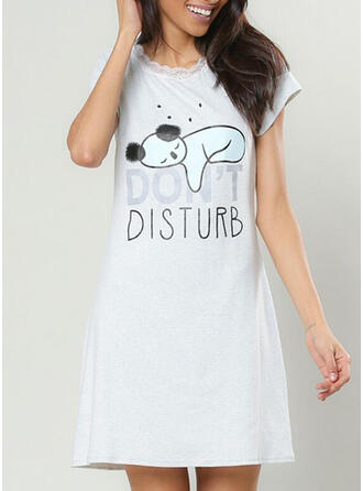 Round Neck Short Sleeves Print Casual Night Dress