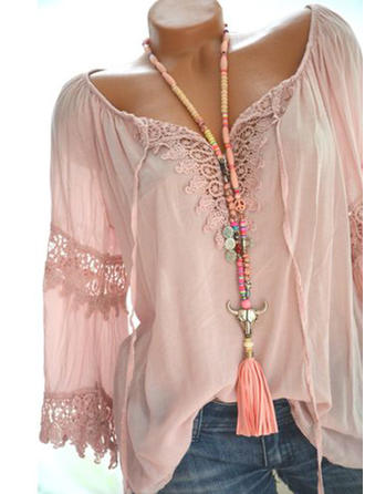 Polyester V Neck Lace Long Sleeves Casual Blouses