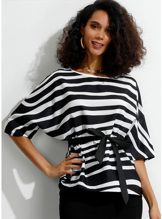 Striped Round Neck Batwing Sleeve 1/2 Sleeves Casual Blouses