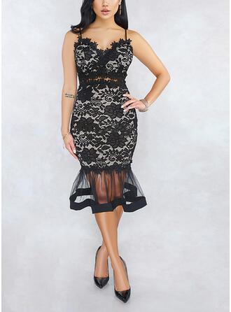 Lace Sleeveless Sheath Sexy/Party Midi Dresses