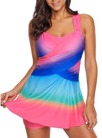 Splice color Round Neck Beautiful Plus Size Swimdresses Swimsuits