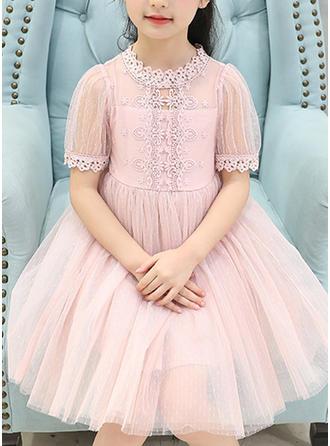 Dziewczyny Okrągły Dekolt Solidny Koronka Ładny Sukienka