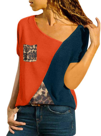 Color Block V-Neck Short Sleeves Casual Knit T-shirt