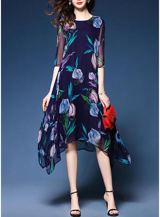 Print/Floral 1/2 Sleeves Shift Casual/Elegant Midi Dresses