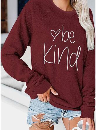 Print Figur Hjerte rund hals Lange ærmer Sweatshirts