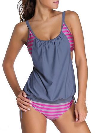 Stripe Triangle U-Neck Elegant Plus Size Tankinis Swimsuits
