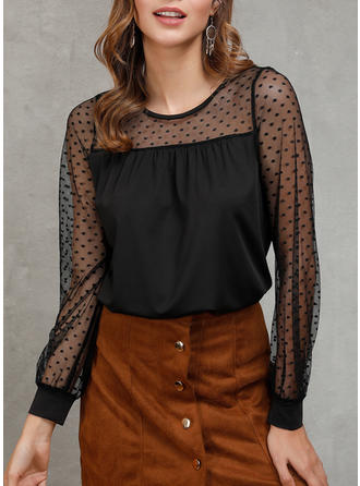 Patchwork Lace Round Neck Long Sleeves Casual Blouses