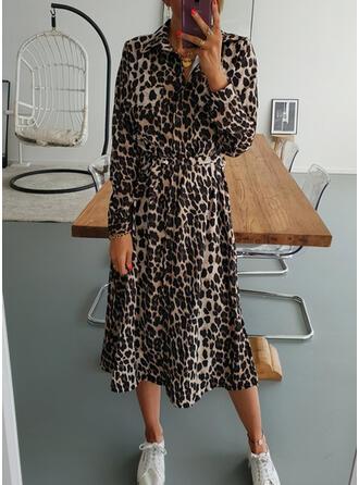 leopardo Maniche lunghe A trapezio Casuale Midi Abiti