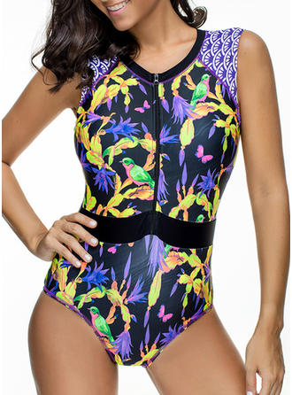 Elegant Colorful Round Neck One-piece Swimsuit