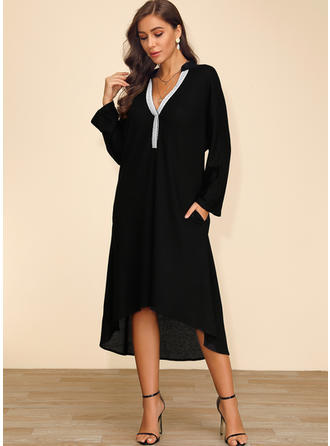 Solid Long Sleeves Shift Asymmetrical Casual/Elegant Dresses