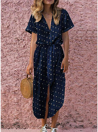 PolkaDot Short Sleeves A-line Midi Casual/Vacation Dresses