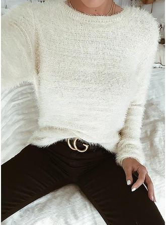 Poliester Okrągły Dekolt Jednolity kolor Swetry