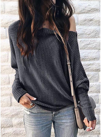 Solid One-Shoulder Long Sleeves Casual Sexy Knit T-shirts