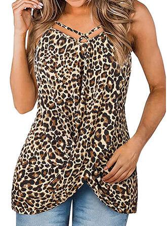 Leopard Spaghetti Strap Sleeveless Sexy Tank Tops