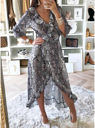 Animal Print 3/4 Sleeves A-line Asymmetrical Casual Dresses