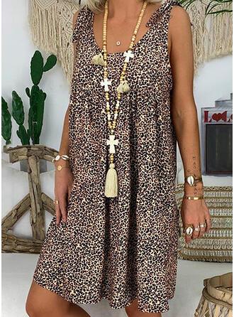 Leopard Sleeveless Shift Knee Length Casual/Vacation Dresses