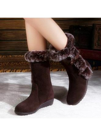 Femmes PU Talon bas Bottes mi-mollets Bottes neige avec Boucle chaussures