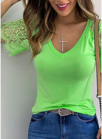 Solid Patchwork Lace V-Neck Short Sleeves Casual T-shirts