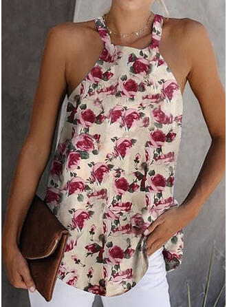 Print Floral Cold Shoulder Sleeveless Sexy Blouses