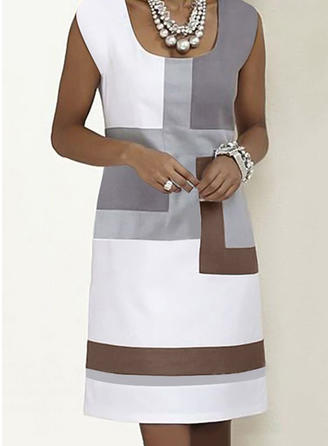 Color-block Sleeveless Shift Knee Length Casual/Elegant Dresses