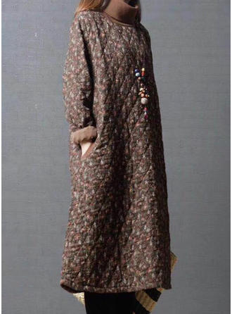 Cotton Long Sleeves Floral Wide-Waisted Coats