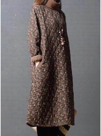 Bawełna Długie rękawy Kwiatowy Szerokie Płaszcze