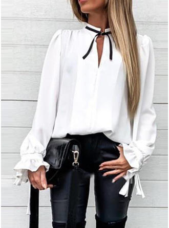 Print Band Collar Long Sleeves Casual Ruffle Blouses