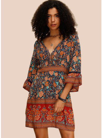Print/Floral 3/4 Sleeves A-line Above Knee Casual/Boho/Vacation Dresses