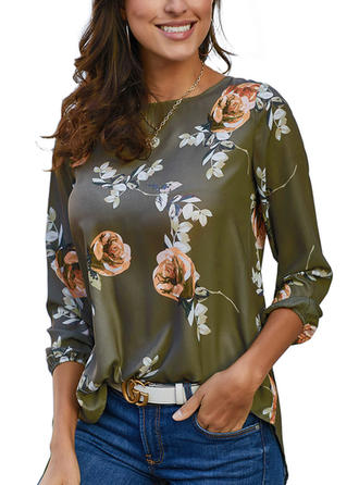 Floral Round Neck 3/4 Sleeves Button Up Casual Elegant Blouses