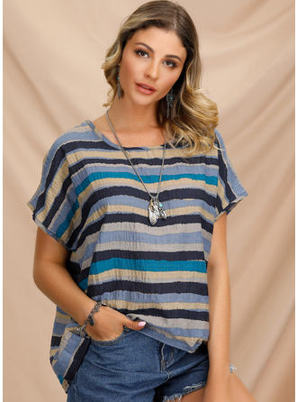 Striped Round Neck Short Sleeves Casual Blouses