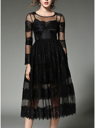Lace With Lace/Stitching/Crumple/See-through Look Midi Dress (Two Pieces )
