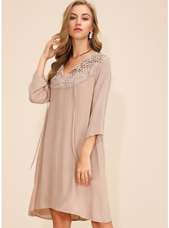 Lace/Solid 3/4 Sleeves Shift Knee Length Casual Dresses