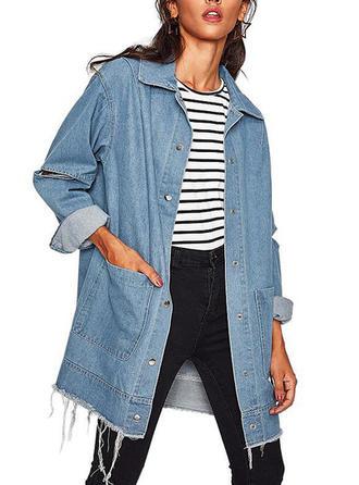 Denim Long Sleeves Plain Patchwork Denim Coats