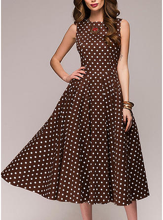PolkaDot Sleeveless A-line Knee Length Vintage/Casual/Party/Elegant Dresses