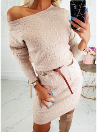 Solid/Chunky knit/Cable-knit Long Sleeves Sheath Above Knee Casual/Long/Tight Dresses