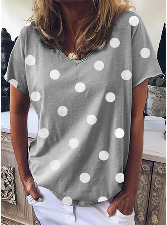 PolkaDot V-Neck Short Sleeves Casual Knit T-shirt