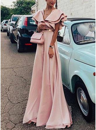 Solid Short Sleeves A-line Maxi Party/Elegant Dresses