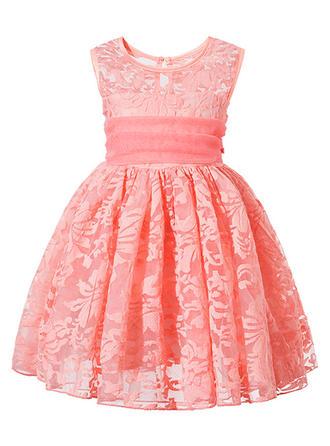 Girls Round Neck Solid Lace Zipper Casual Cute Dress