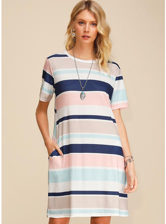 Color block Short Sleeves Shift Knee Length Casual Dresses