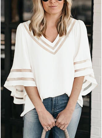Solid V-Neck 3/4 Sleeves Casual T-shirt