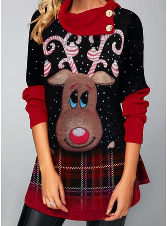Women's Polyester Reindeer Ugly Christmas Sweater