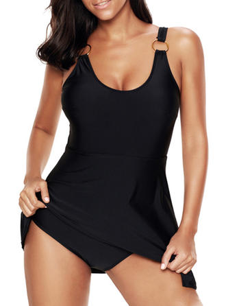 Elegant Solid Color Strap One-piece Swimsuit